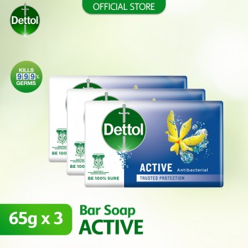 Dettol Active Anti-Bacterial Body Soap 3 x 65g