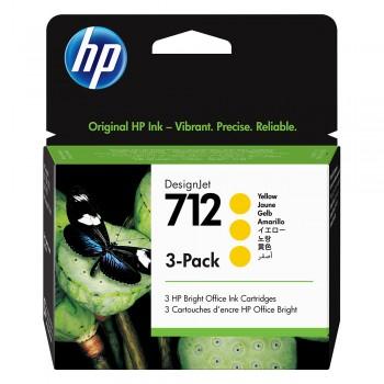HP 712 Yellow DesignJet Ink Cartridge 3-Pack
