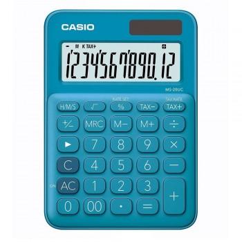 Casio Colourful Calculator - 12 Digits, Solar & Battery, Tax & Time Calculation, Blue (MS-20UC-BL)