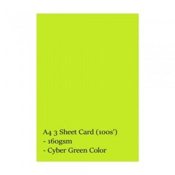 A4 3 Sheet Card 160gsm 100s' (Cyber Green)