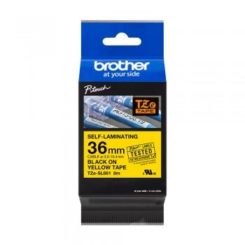 Brother TZe-SL661 Genuine Self Laminating Label, 36mm Black on Yellow