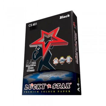 Lucky Star A4 Colour Paper Black CS401 80gsm 450 sheets