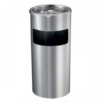 Stainless Steel Round Waste Bin - C/W Ashtray Top LD-RAB-092/A