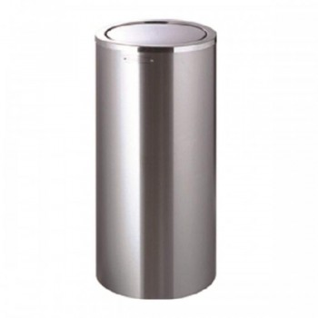 Stainless Steel Round Waste Bin C/W Flip Top - RFT-085/SS