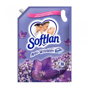 Softlan Anti Wrinkles Lavender Fresh (Purple) Fabric Conditioner 1.6L Refill