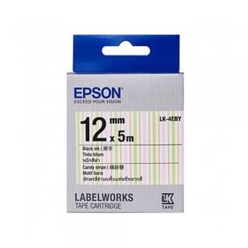 Epson LK-4EBY 12mm Black on Candy Strip