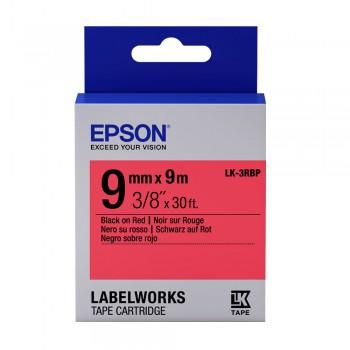 Epson LK-3RBP 9 mm Black on Red Tape
