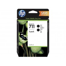 HP 711 Black DesignJet Ink Cartridges 80ml (2 pack)