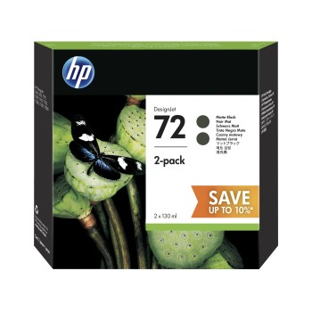 HP 72 Matte Black DesignJet Ink Cartridges 130ml (2 pack)