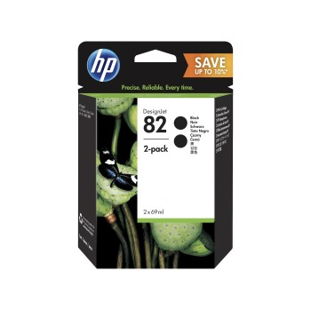 HP 82 Black DesignJet Ink Cartridges 69ml (2 pack)