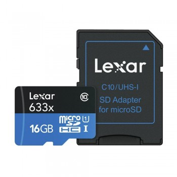 Lexar High-Performance microSDHC 633X 16GB with SD Adapter (up to 95MB/s read)