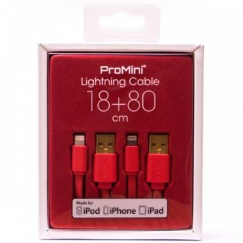 Magic Pro - ProMini Lightning Cable 18cm + 80cm - Red