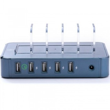 Magic Pro MiniQ Charging Station 5Q - 12A 5-Port USB Power Charger with Qualcomm Quick Charge 2.0 with Mobile Shelf (Blue)