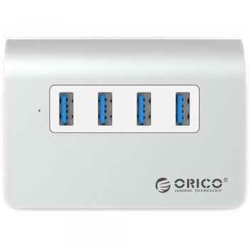 Orico M3H4 Aluminium USB3.0 4 Port Hub (Silver)