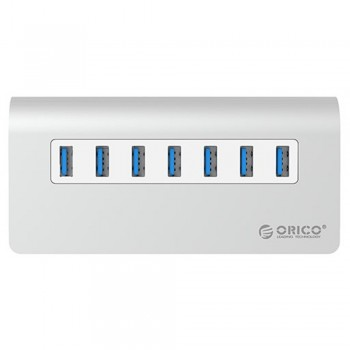 Orico M3H7 Aluminium USB3.0 7 Port Hub with 12V2.5A Power Adapter(Silver)