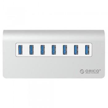 Orico M3H7 Aluminium USB3.0 7 Port Hub with 12V2.5A Power Adapter(Silver)