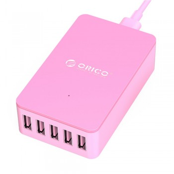 Orico CSE-5U 5 Port Smart Desktop Charger, Total 8A - Pink