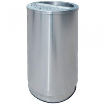 Stainlesss Steel Round Waste Bin c/w 1/2 Ashtray and 1/2 Open Top-RAB-146/H (Item No.G01-272)
