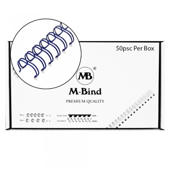"M-Bind Double Wire Bind 2:1 A4 - 1""(25.4mm) X 23 Loops, 50pcs/box, Blue"