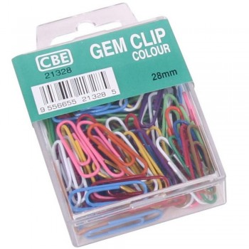 CBE 21328 28MM COLOUR GEM CLIP(100'S)