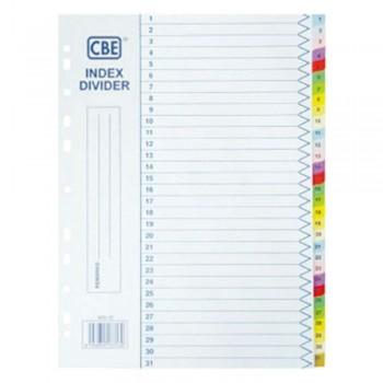 CBE 907-31 - (1-31) Paper Color Index Divider (Item No: B10-154) A1R4B6