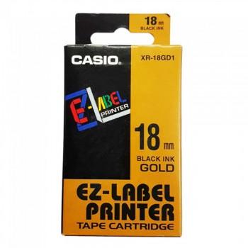Casio Ez-Label Printer Tape Cartridge - 18mm, Black on Gold (XR-18GD1)