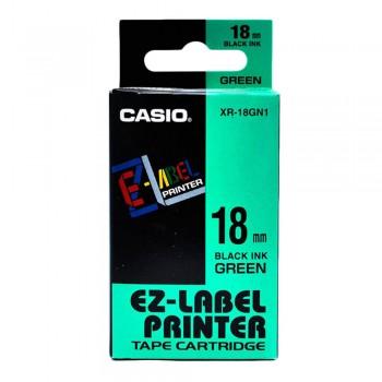 Casio Ez-Label Printer Tape Cartridge - 18mm, Black on Green (XR-18GN1)
