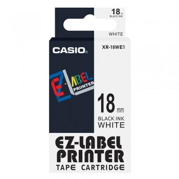 Casio Ez-Label Printer Tape Cartridge - 18mm, Black on White (XR-18WE1)