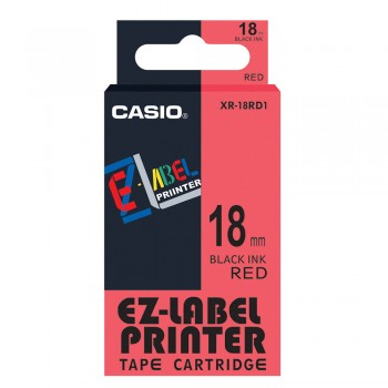 Casio Ez-Label Printer Tape Cartridge - 18mm, Black on Red (XR-18RD1)