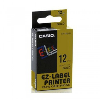 Casio Ez-Label Tape Cartridge - 12mm, Black on Gold (XR-12GD1)