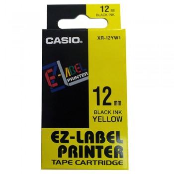 Casio Ez-Label Tape Cartridge - 12mm, Black on Yellow (XR-12YW1)