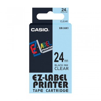 Casio Ez-Label Tape Cartridge - 24mm, Black on Clear (XR-24X1)