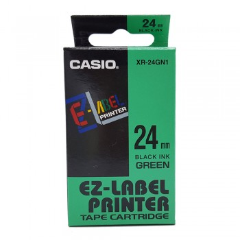 Casio Ez-Label Tape Cartridge - 24mm, Black on Green (XR-24GN1)