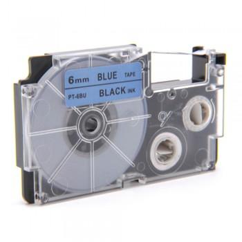 Casio Ez-Label Tape Cartridge - 6mm, Black on Blue (XR-6BU1)