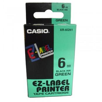 Casio Ez-Label Tape Cartridge - 6mm, Black on Green (XR-6GN1)