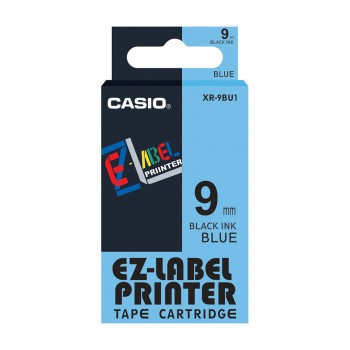 Casio Ez-Label Tape Cartridge - 9mm, Black on Blue (XR-9BU1)