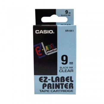 Casio Ez-Label Tape Cartridge - 9mm, Black on Clear (XR-9X1)