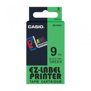 Casio Ez-Label Tape Cartridge - 9mm, Black on Green (XR-9GN1)