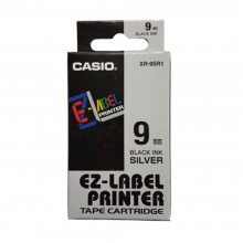 Casio Ez-Label Tape Cartridge - 9mm, Black on Silver (XR-9SR1)