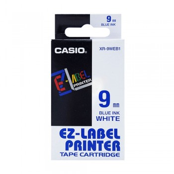 Casio Ez-Label Tape Cartridge - 9mm, Blue on White (XR-9WEB1)