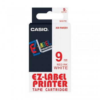 Casio Ez-Label Tape Cartridge - 9mm, Red on White (XR-9WER1)
