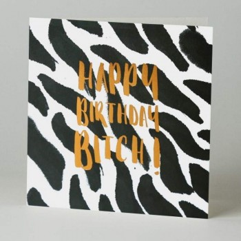 Letterpress Card - Black Ink - Happy Birthday Bit