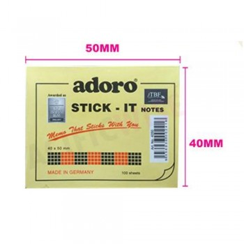 Adoro Stick It Notes Yellow 100s' 40 x 50mm