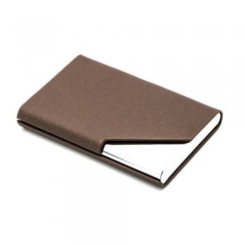 Leather Type Name Card Holder - Brown