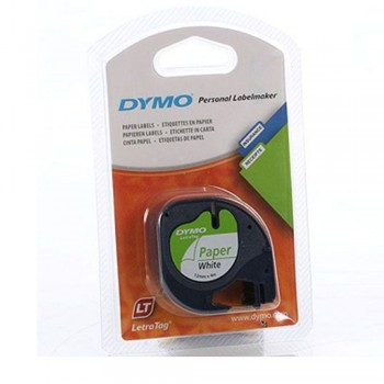 Dymo Tape Letre Tag Paper White 12mm X 4m