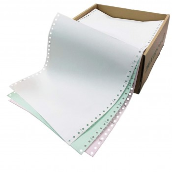 """Computer Form 9.5""""x11"""" 3 Ply 280 Fans - White/Green/Pink"""