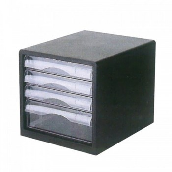 Niso 8811 4 Tier Drawer Letter Case Black - 27.5 x 36.5 x 25.5cm