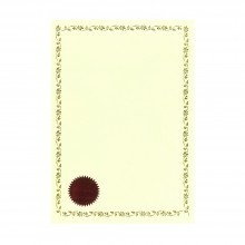Kertas Sijil / Certificate Paper with Gold Border and Red Seal (100pcs)