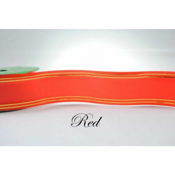 Ribbon Paper With Gold Line 25m Red