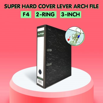 SUPER Hard Cover Lever Arch File 8991 for A4 Paper Filing - 3-Inch, 2-Ring, F4 File Size, Premium A4 Paper Size Black Marbled Binder File